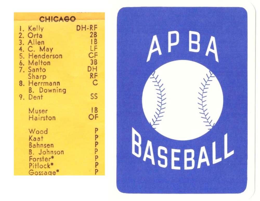 1974 APBA Reprint Season 25 Cards - CHICAGO WHITE SOX Team Set (From I997)