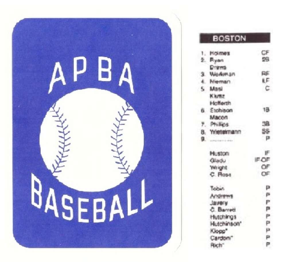 1944 APBA Season - BOSTON BRAVES Team Set