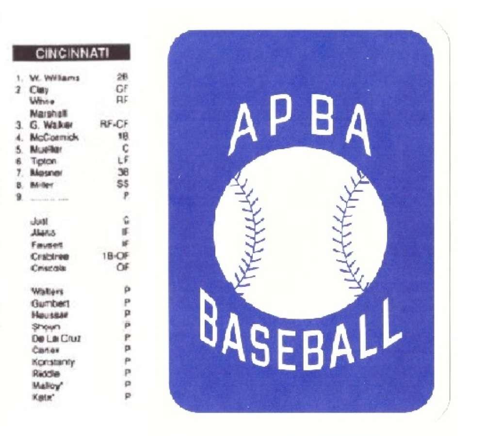 1944 APBA Season - CINCINNATI REDS Team Set (Issued 2OO4)