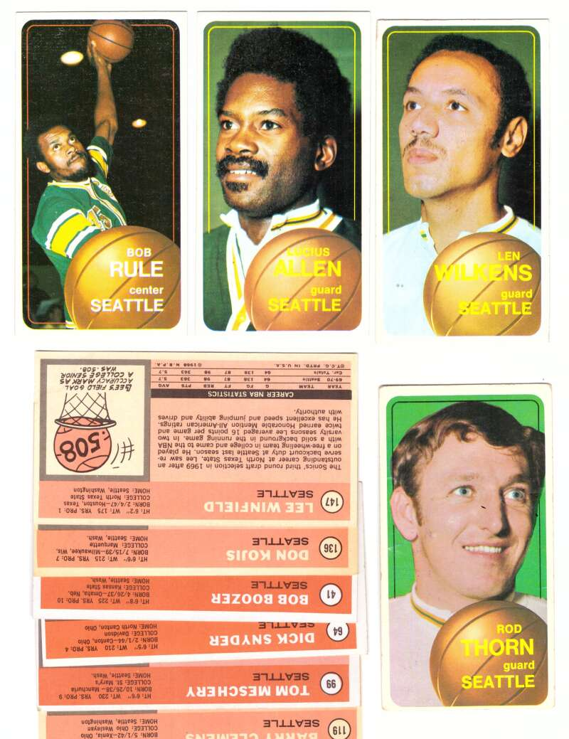 1970-71 Topps Basketball Team Set - Seattle Supersonics