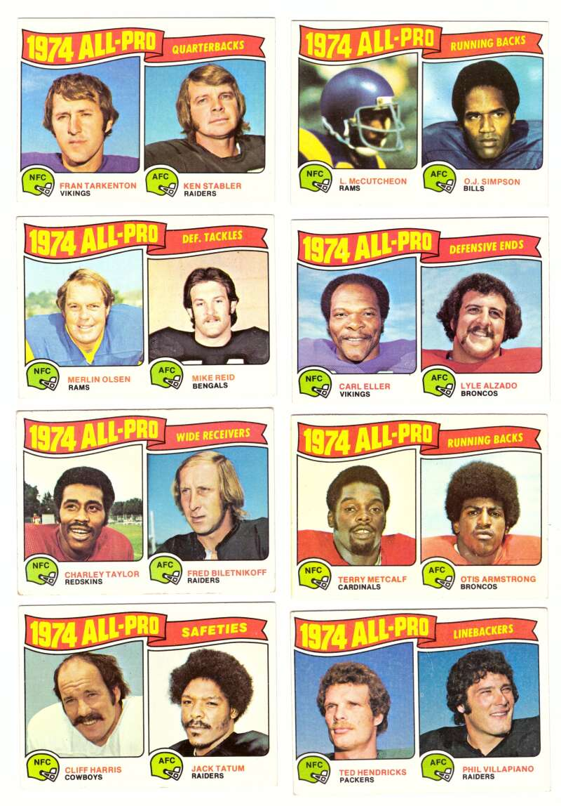 1975 Topps Football (VG+ Condition) (A) All-Pro Players 25 card subset