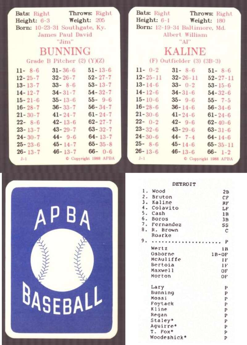 1961 APBA Reprint Season (No Envelopes) - DETROIT TIGERS Team Set
