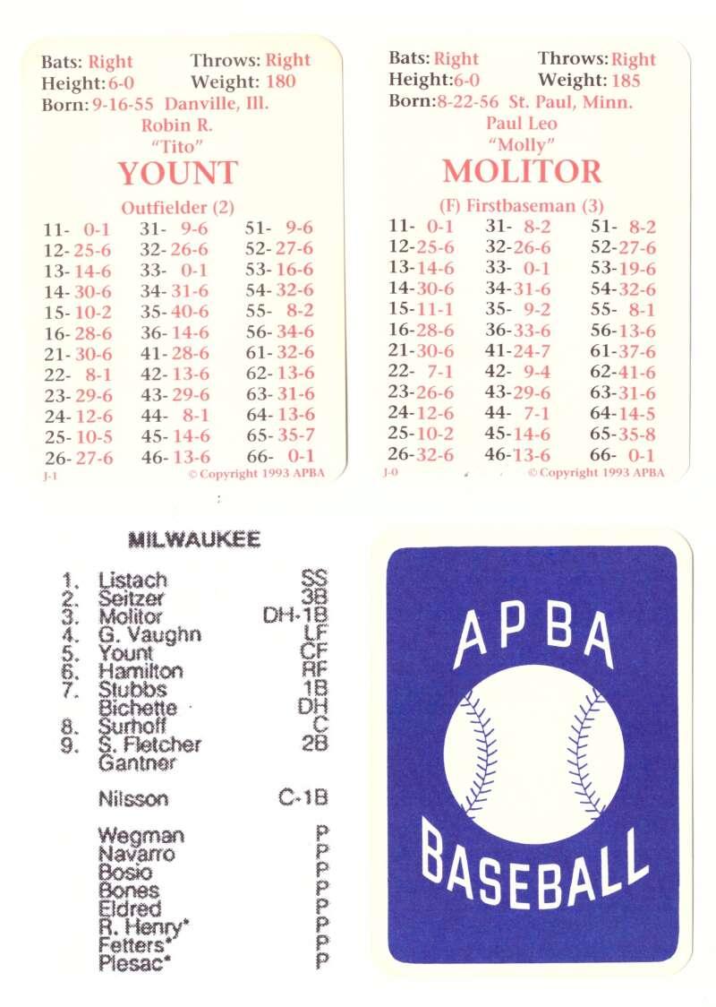 1992 APBA Season - MILWAUKEE BREWERS Team Set