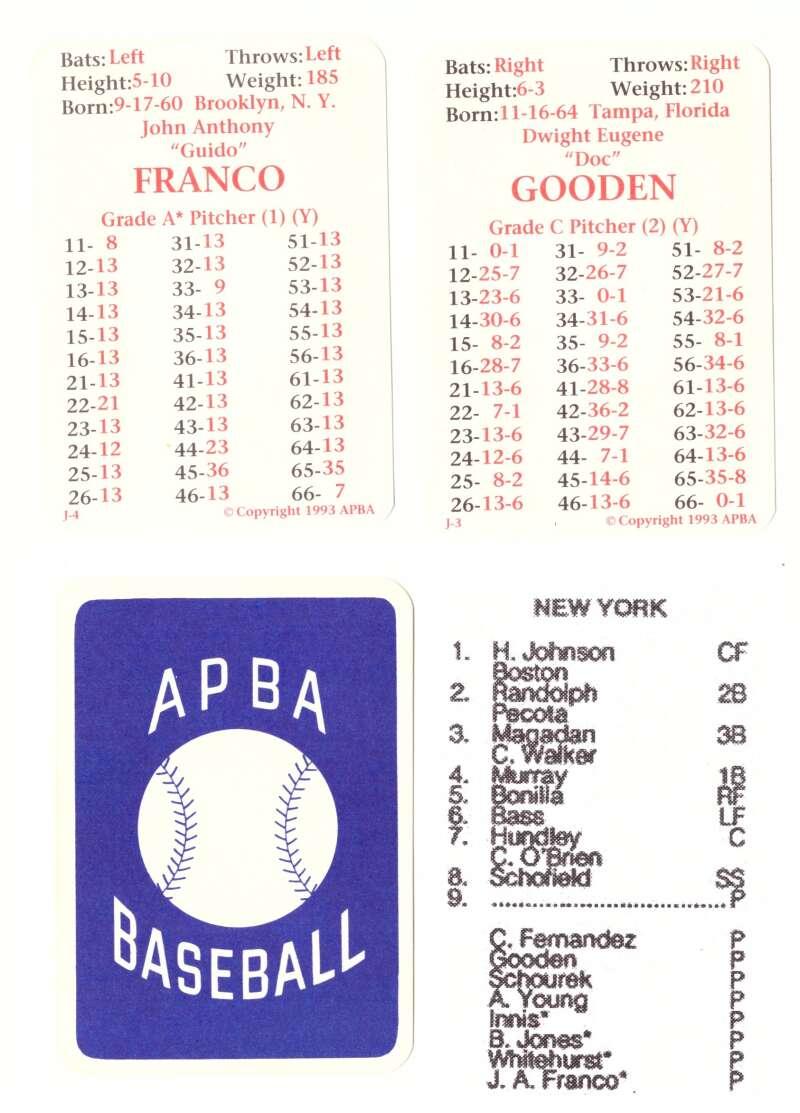 1992 APBA Season - NEW YORK METS Team Set