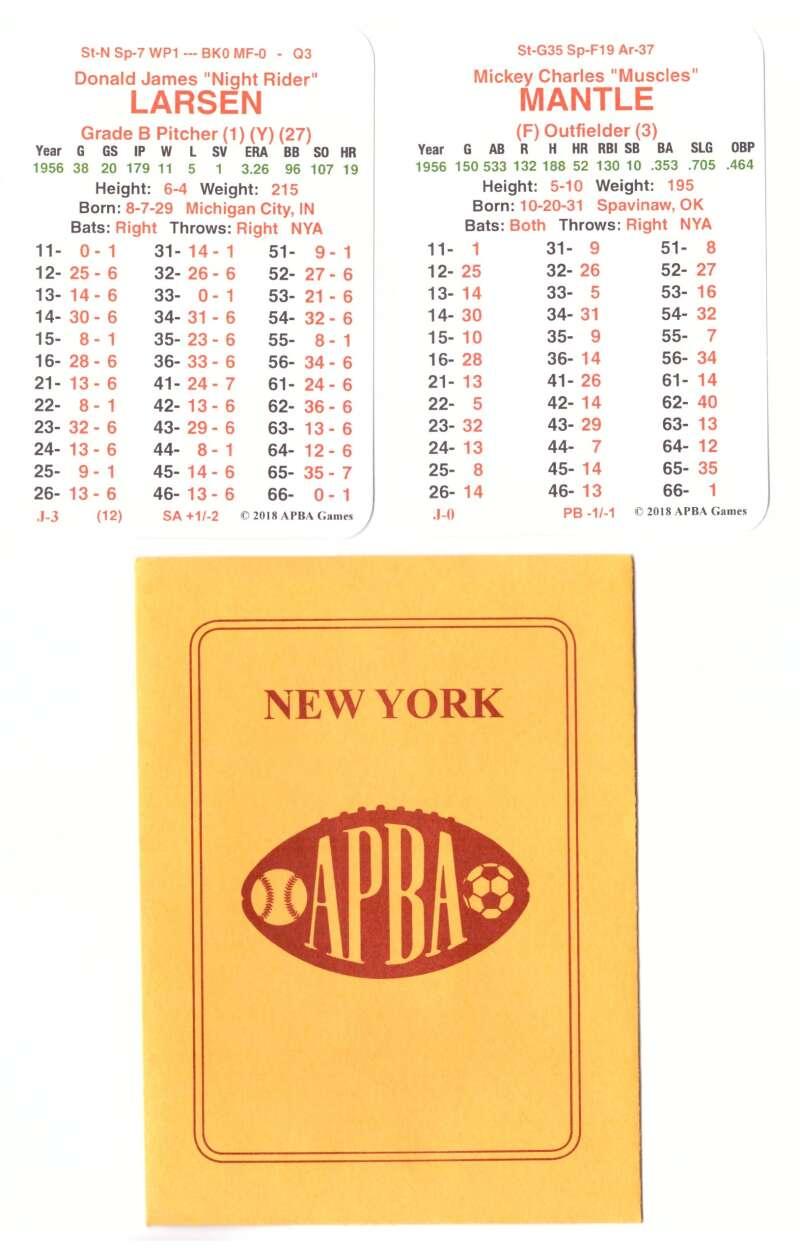 1956 APBA World Series Champions - New York Yankees Team Set