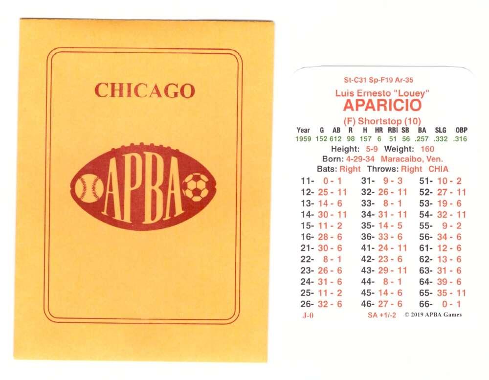 1959 APBA World Series Runner Up - Chicago White Sox Team Set