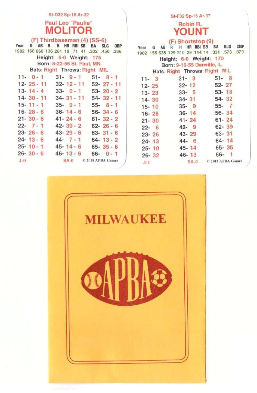 1982 APBA World Series Runner Up - Milwaukee Brewers Team Set