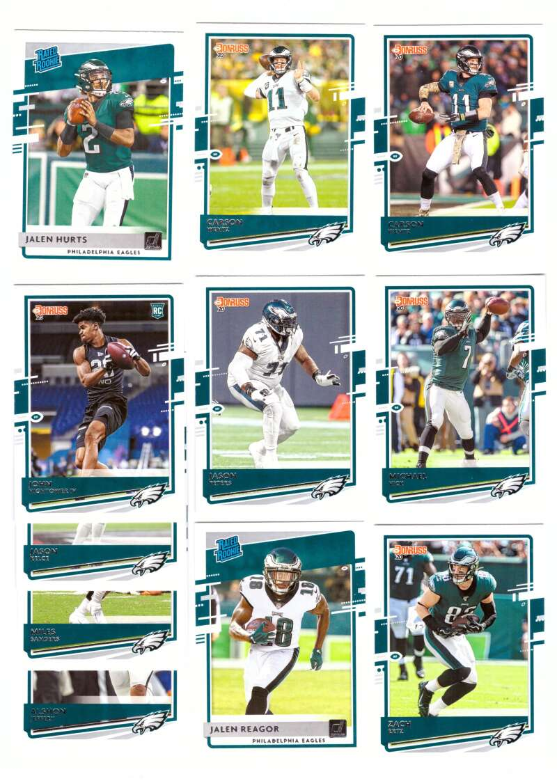 2020 Donruss Football Team Set w/ Variation 11 Cards - PHILADELPHIA EAGLES w/ Jalen Hurts RC