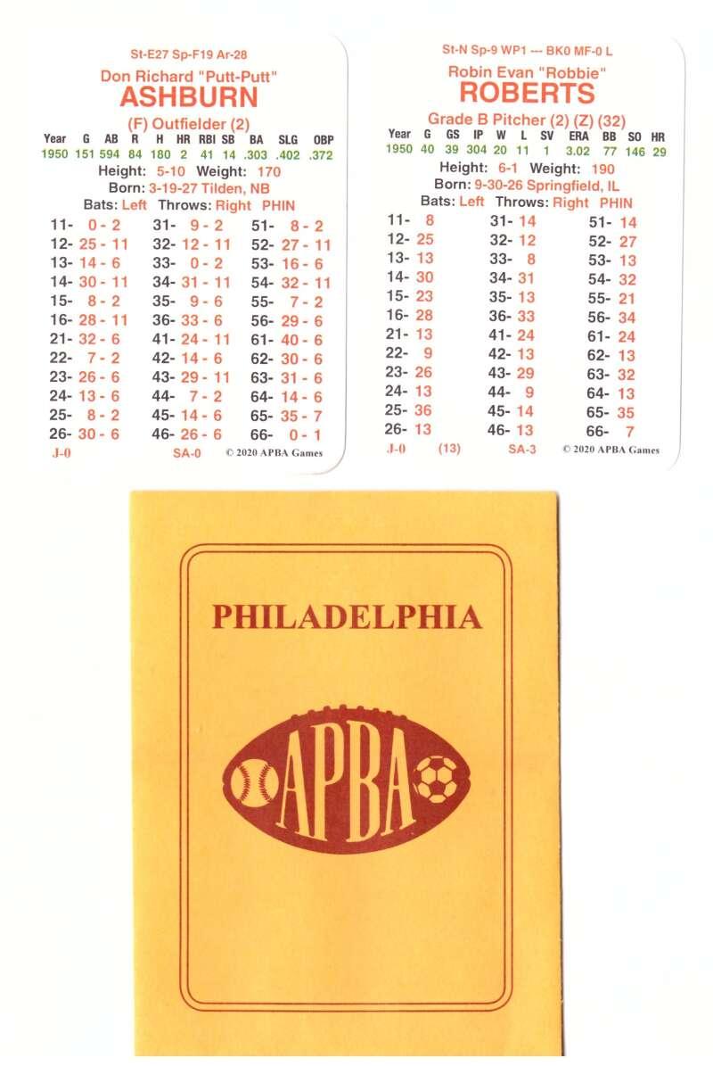 1950 APBA World Series Runner Up - Philadelphia Phillies Team Set