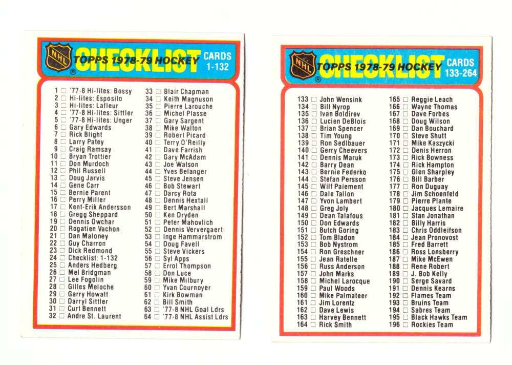 1978-79 Topps Hockey Checklist 2 cards Unmarked