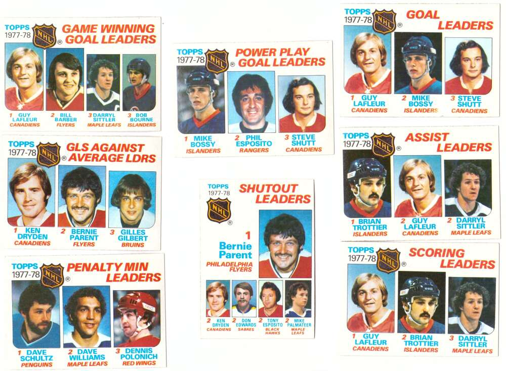 1978-79 Topps Hockey League Leaders Subset 8 cards
