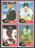 1981 TOPPS - DETROIT TIGERS Team Set