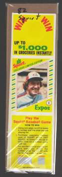 1982 Squirt Panel (Pic in Middle w/ Scratchoff) - MONTREAL EXPOS Team Set