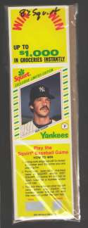 1982 Squirt Panel (Pic in Middle w/ Scratchoff) - NEW YORK YANKEES Team Set