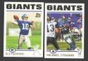 2004 Topps Football Team Set - NEW YORK GIANTS w/ ELI MANNING RC
