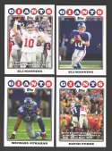 2008 Topps Football Team set - NEW YORK GIANTS