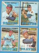 1967 Topps VG+-EX+ Condition - ATLANTA BRAVES Team Set Aaron VG