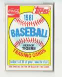 1981 COKE (Topps) - DETROIT TIGERS Team Set