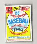 1981 COKE (Topps) - KANSAS CITY ROYALS Team Set