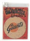1968-72 Fleer Cloth Stickers - SAN FRANCISCO GIANTS Team Set