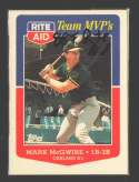 1988 Topps Rite-Aid Team MVPs OAKLAND As Team set