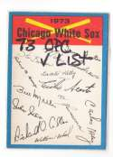 1973 O-Pee-Chee Blue Team Checklist Card CHICAGO WHITE SOX