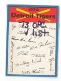 1973 O-Pee-Chee Blue Team Checklist Card DETROIT TIGERS