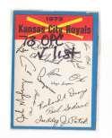 1973 O-Pee-Chee Blue Team Checklist Card KANSAS CITY ROYALS