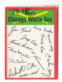 1974 O-Pee-Chee Team Checklist Card CHICAGO WHITE SOX