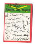 1974 O-Pee-Chee Team Checklist Card KANSAS CITY ROYALS