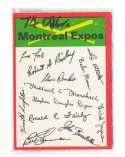 1974 O-Pee-Chee Team Checklist Card MONTREAL EXPOS