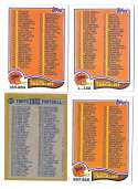 1982 Topps Football Checklist 4 card set