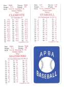 1972 APBA (Reprint) Season - PITTSBURGH PIRATES Team Set