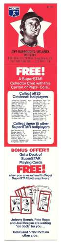 1978 Pepsi-Cola Superstar Tab - ATLANTA BRAVES Jeff Burroughs