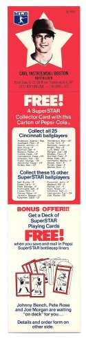 1978 Pepsi-Cola Superstar Tab - BOSTON RED SOX Carl Yastrzemski