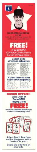 1978 Pepsi-Cola Superstar Tab - CALIFORNIA ANGELS ** NOLAN RYAN **