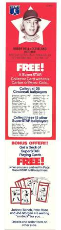 1978 Pepsi-Cola Superstar Tab - CLEVELAND INDIANS Buddy Bell