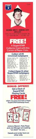 1978 Pepsi-Cola Superstar Tab - KANSAS CITY ROYALS George Brett