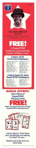 1978 Pepsi-Cola Superstar Tab - MINNESOTA TWINS Rod Carew