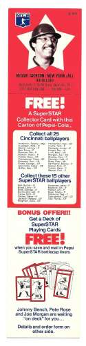 1978 Pepsi-Cola Superstar Tab - NEW YORK YANKEES Reggie Jackson
