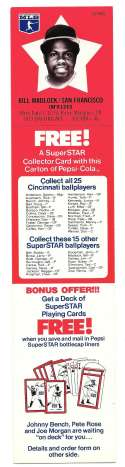 1978 Pepsi-Cola Superstar Tab - SAN FRANCISCO GIANTS Bill Madlock