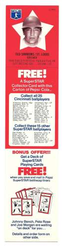1978 Pepsi-Cola Superstar Tab - ST LOUIS CARDINALS Ted Simmons