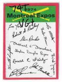 1974 Topps Team Checklist Card VG+ Condition - MONTREAL EXPOS