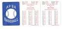 1954 APBA (Reprint) Season - DETROIT TIGERS Team Set