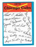 1973 Topps Blue Team Checklist - CHICAGO CUBS