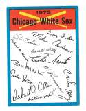 1973 Topps Blue Team Checklist - CHICAGO WHITE SOX