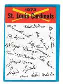 1973 Topps Blue Team Checklist - ST LOUIS CARDINALS