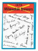 1973 Topps Blue Team Checklist (Marked) - MILWAUKEE BREWERS