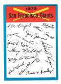 1973 Topps Blue Team Checklist (Marked) - SAN FRANCISCO GIANTS