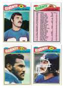 1977 Topps Football (C) Team Set - NEW YORK GIANTS